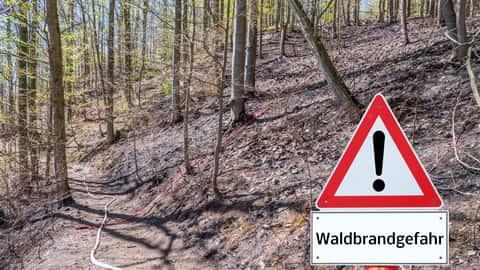 Schild warnt vor Walbbrandgefahr